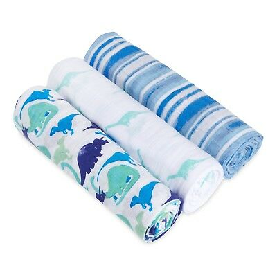 aden and anais soft muslin large baby swaddles 3-pack: jurassic