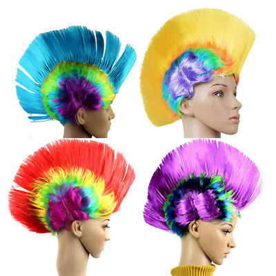 Halloween Mohawk Hair Wig Mohicans Punk Rock Fancy Cosplay Party Costume Fun UK