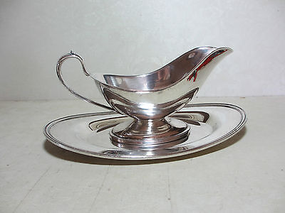 Vintage Silverplate Sauce Gravy Boat with Fitted Underplate Maker's Mark on Both