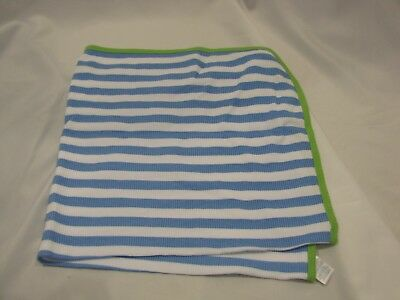 Gerber baby thermal receiving blanket green trim blue white stripes waffle weave
