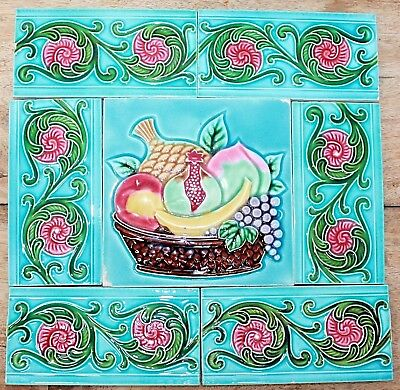 Vintage Set of Fruit Basket & 6 Border Design Art Nouveau Majolica Tiles JAPAN