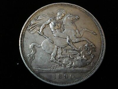 Great Britain 1890 Crown Sterling Silver Coin #NK