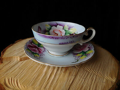 Lefton Japan Hand Painted Tea Cup & Saucer Set - Violet Lilac Color - Floral