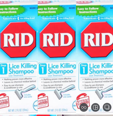 Pack of 3 RID Lice Killing Shampoo 2oz Each FAST SHIPPING! exp 09/17