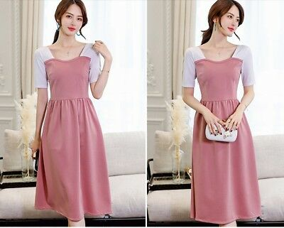 60f5c550cb 2018 Summer Square Neck Korean Style Short Sleeve Color Block Long Casual  Dress