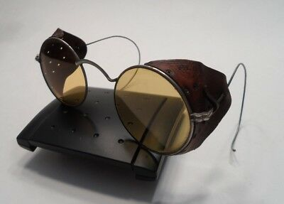 Antique Vintage Albex Safety Glasses -- Leather Side Shields -- Yellow Lenses