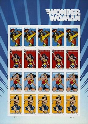 2016 Wonder Woman Forever Stamps - Pane of 20 MNH, 75th Anniversary