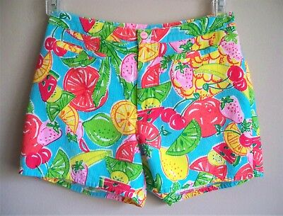 LILLY PULITZER Shorts Fruit Pattern Lined Multi Color Womens Size 6