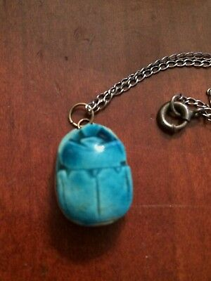 Vintage Egyptian Blue Carved Scarab Bead Lucky Charm Beetle Amulet Gold Bezel