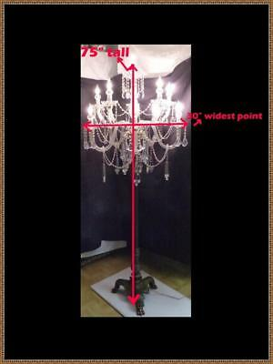 "Antique French 75"" Tall Solid Bronze &  Crystal Floor Candelabra Chandelier"