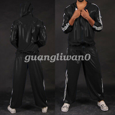 Latex Rubber Kostüm Gummi Men Handsame hooded Jacket And Pants Suit Size XXS-XXL