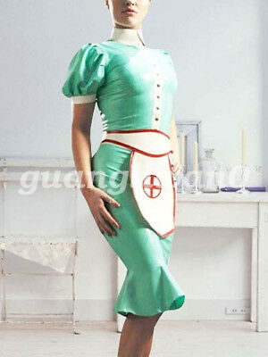 Latex Rubber Women Maid Skirt Fancy Ball Skirt Gummi Long Drees Size XXS-XXL