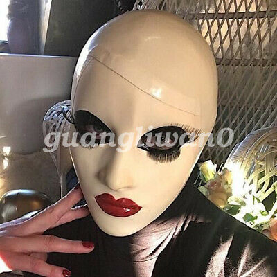 100%Latex Rubber Mask Masque Cosplay Masquerade White Maske Sizes XXS-XXL