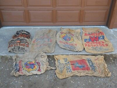 Vintage Burlap Potato Sacks, Lot of 6: One Buckboard Potato, One All American