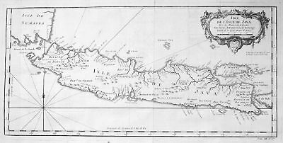 1750 Java Indonesia Indonesien Karte map plan Kupferstich antique print Bellin