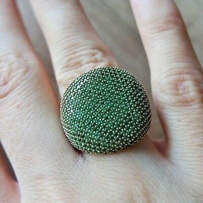 Excellent!  Turkish Handmade Emerald Sterling Silver 925K Ring Size 7,8,9