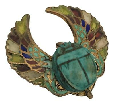 Antique Art Deco Plique a Jour Egyptian Scarab Enamel 800 Silver Gilt Brooch Pin