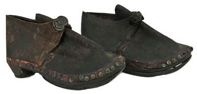 Antique English 18th 19thC Child Baby Boy Girl Doll Leather Shoes Boots Clothing