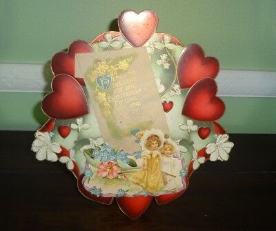 """1914 Die Cut 9 1/2"""" Valentine Card Easel Back w/ Red Hearts & Little Girls"""