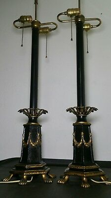Pair of French Empire Style Claw Foot/Feet Lamps - Gold gilt, Bronze/Brass ?