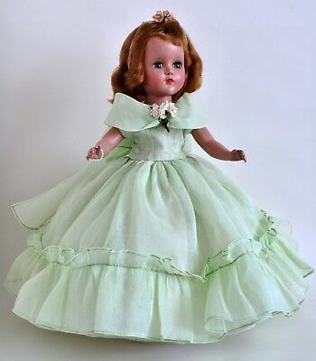 "GORGEOUS VINTAGE 1940s ARRANBEE R&B 14"" NANETTE in GREEN DRESS w CLEAR SHOES"
