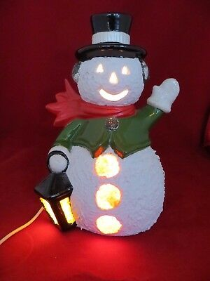"""Christmas Ceramic  Snowman  Lighted 9"""" Hand Painted  1978 Atlantic Mold  WORKS"""