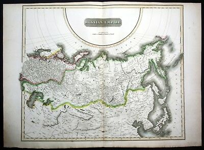 1814 Russian Empire Russia Siberia China Korea map Karte Thomson Kupferstich