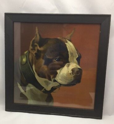 Antique Boxer Dog, Chromolithograph Print, Arts & Crafts OAK Frame 1905