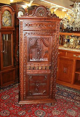 Antique French Carved Oak Brittany Tall 1 Door Bedroom Armoire Closet Cabinet