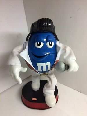 Blue M&M Candy Singing Dancing Elvis Blue Christmas Collectible Figure Tested