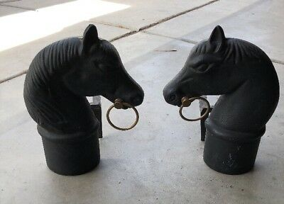 vintage pair of Fireplace Andirons, HORSE HEADS cast Iron