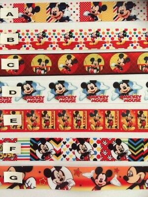 Mickey Mouse Grosgrain Ribbon All Designs Sold by 2M - Craft - Cake - Dummy clip