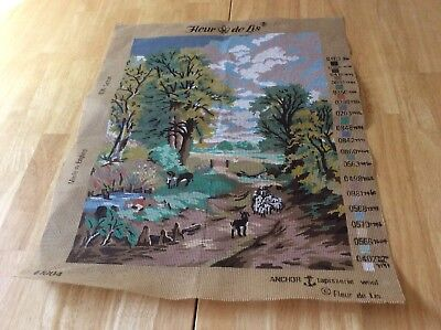 Tapestry Canvas + 29 Skeins Of Wool - Rural Scene With Sheep