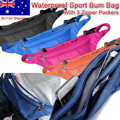 Waterproof Running Hiking Sport Bum Bag Travel Money Phone Waist Belt Zip Pouch