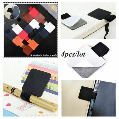 4PCS Portable Elastic Loop Self-adhesive Pen Holder Notebook Leather Pen Clips