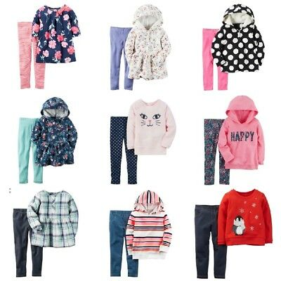 c39d59f3a4c595 NWT Carters Toddler Girl 2-pc Outfits Fleece Hoodie Tunic Leggings 2T-5T