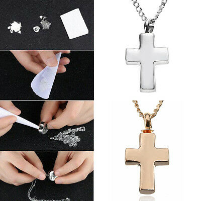 Silver / Rose Gold Cross Cremation Memorial Pendant Urn Necklace Ashes Holder
