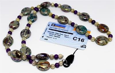 Neck Lanyard - Dazzling Purple and Multi-Colored Beads with Silver Bead Detail