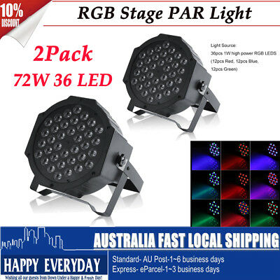 2Pcs 72W 36LED RGB Stage Light DMX512 Par Lamp Club For Wedding DJ Disco Party