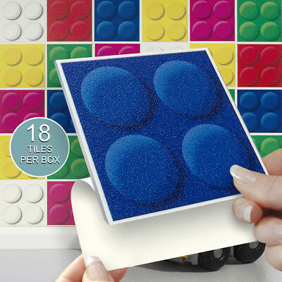 """18 Funtiles 4"""" x 4"""" Stick On Self Adhesive Tile Stickers Playrooms & Bathrooms"""