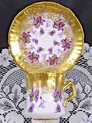 Hammersley Purple Violets Heavy Gold Embossed Tea Cup And Saucer