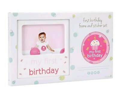 Tiny Ideas Babys First Birthday Milestone Baby Belly Sticker And Keepsake Photo Frame Gift Set