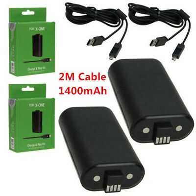 2 PCS For XBox One Charge and Play Kit Rechargeable Battery & 2M Charging Cable