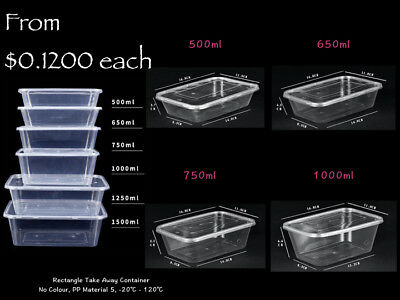 Take Away Containers & Lids Disposable Plastic Food Container 500/650/750/1000ml