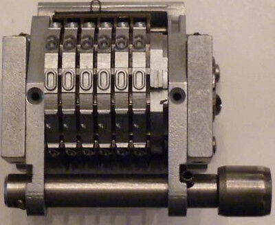 """(J)-Roberts Offset Number Machine 6 Wheel 9/64""""Gothic Character  22"""" C"""