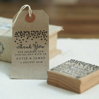 Personalised Wedding Favours Thank you for sharing our day hearts rubber stamp