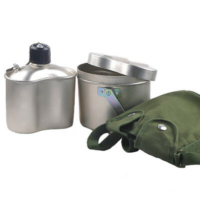 Aluminium 3 Pieces Army Mess Kit Military Lunch Box Kettle Pot Canteen Cutlery