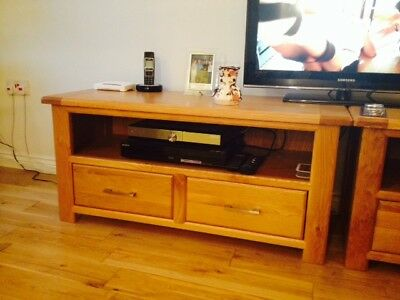 Pair of solid oak tv/entertainment units, mid brown, very good condition