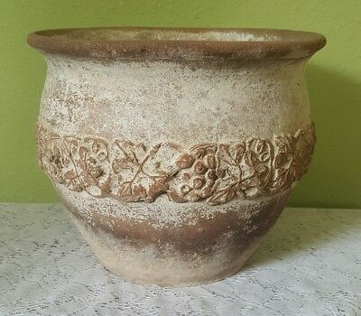 Old Vintage Plant Pot Weathered Embossed Italian French Terracotta Clay Planter