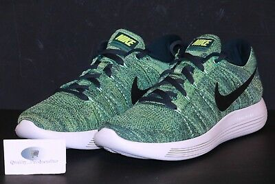 f8a2985697c8 Nike Lunarepic Low Flyknit Green Black Running Shoes 843764 300 Mens Sz 9-13